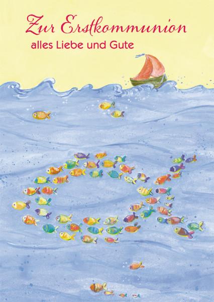 Karte zur Kommunion - Ich glaube an Jesus und Fische