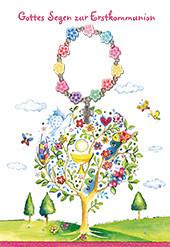 Karte zur Kommunion - Lebensbaum & Blumenarmband
