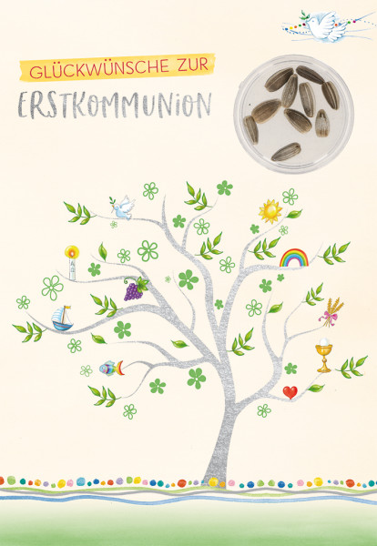 Karte zur Kommunion - Lebensbaum & Sonnenblumensamen