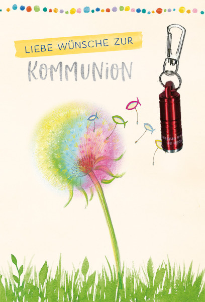 Karte zur Kommunion - Pusteblume & rote Taschenlampe