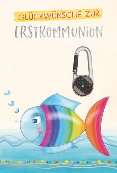 Karte zur Kommunion Regenbogenfisch & Kompass
