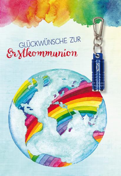 Karte zur Kommunion - Weltkugel & blaue Taschenlampe