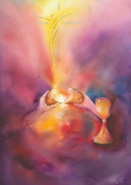 Karte zur Priesterweihe - Brot für das Leben gebrochen