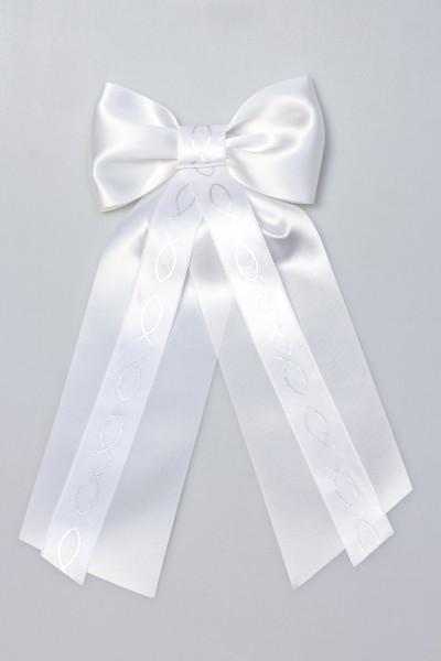Kerzenschleife - Silber Fische & Weiß