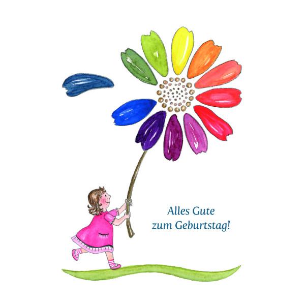 Kindergeburtstagskarte - Blumenmädchen