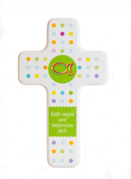 Kinderkreuz - Farbige Punkte & Fisch