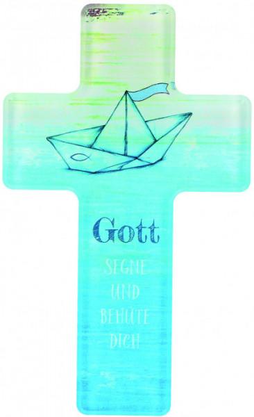 Kinderkreuz - Gott segne und behüte dich & Papierschiffchen