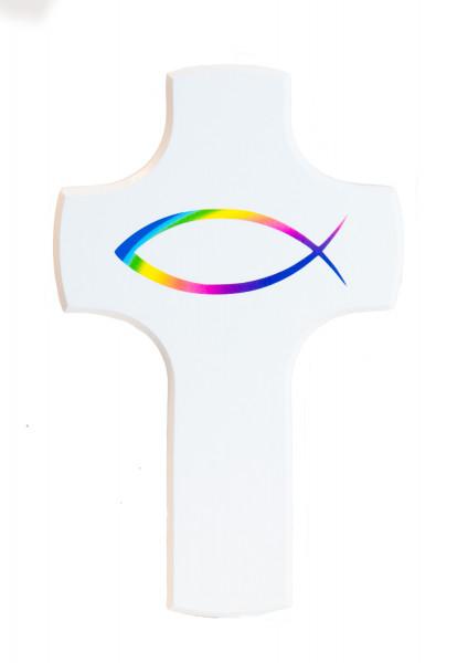 Kinderkreuz - Regenbogenfisch auf weißem Kreuz