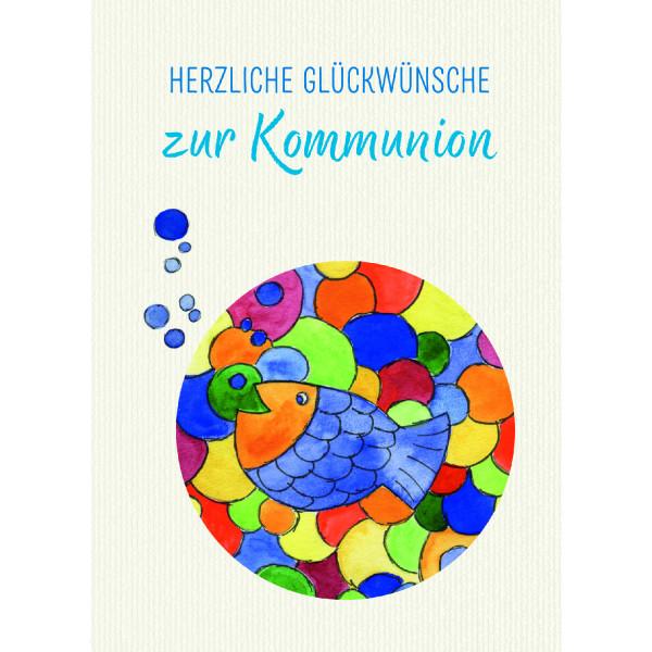 Kommunionkarte - Fisch & Bunt