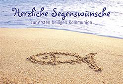 Kommunionkarte - Fischsymbol im Sand