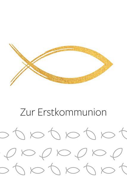 Kommunionkarte - Goldener Fisch