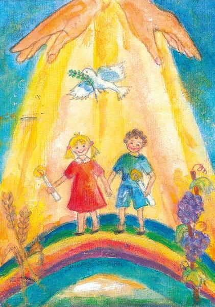 Kommunionkarte - Mädchen & Junge