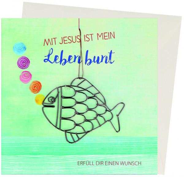Kommunionkarte mit Geldgeschenk - Mit Jesus ist mein ...