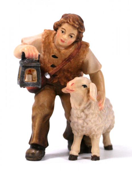 Kostner-Krippe - Hirtenbub mit Schaf und Laterne