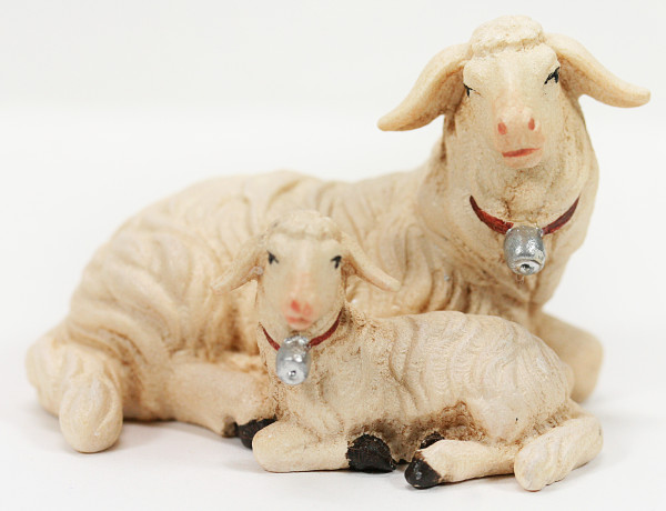 Kostner-Krippe - Schaf liegend mit Lamm - 12 cm & Coloriert-fehlerhaft