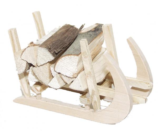 Krippenzubehör - Hörner- Schlitten mit Holz