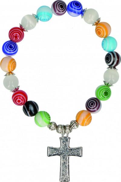 Kunststoff-Armband - Bunte Perlen und Spirale