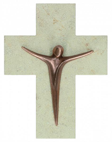 Natursteinkreuz - Moderner Bronzekorpus