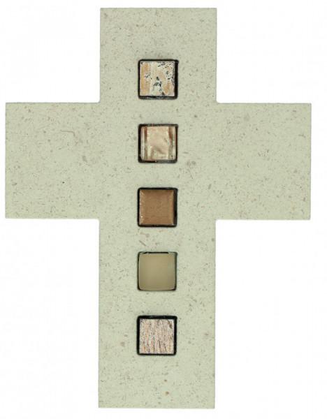 Natursteinkreuz - Mosaiksteine & Braun
