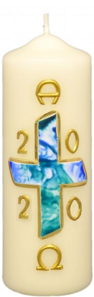 Osterkerze - Blaues Kreuz & Gold