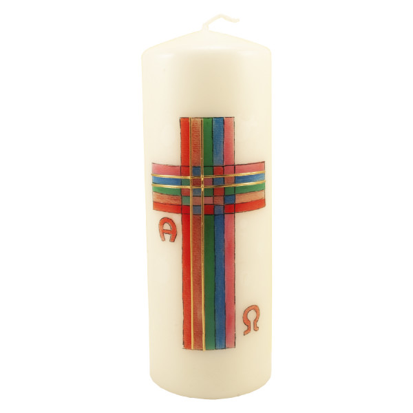 Osterkerze - Buntes Kreuz & Streifen