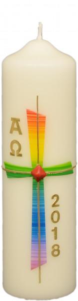 Osterkerze - Regenbogen-Kreuz