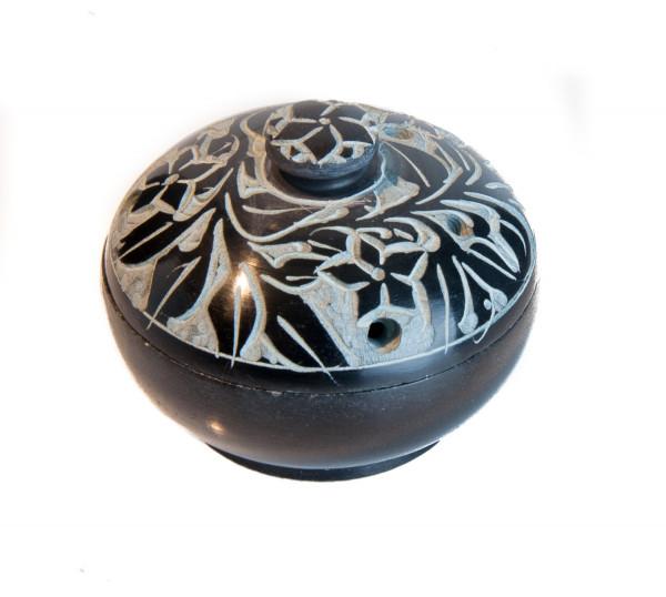 Räuchergefäß - Schwarzer Speckstein mit Blumenmuster