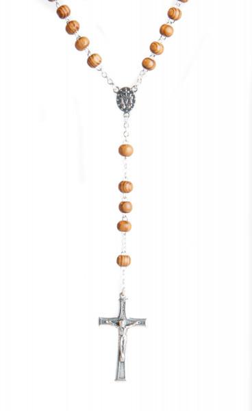 Rosenkranz - Pinienholzperle mit silberfarbenem Kreuz