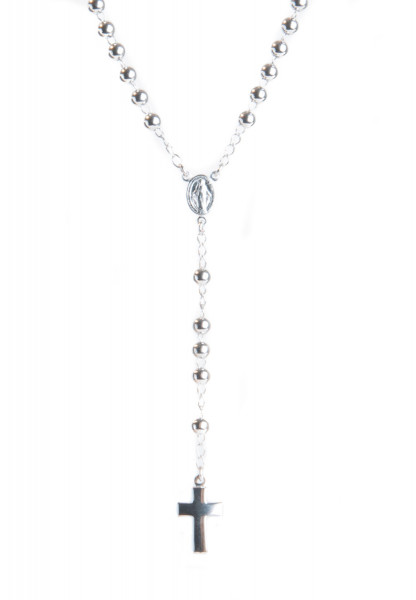 Rosenkranz - Schlichte Silberperle & Silber-Kreuz