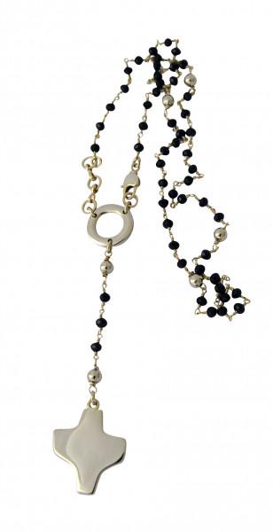 Rosenkranz - Schwarze Swarovski-Perle & Goldfarbenes Kreuz