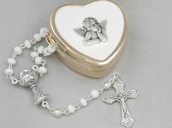 Rosenkranz-Set - Weiße Perle & Engel-Etui
