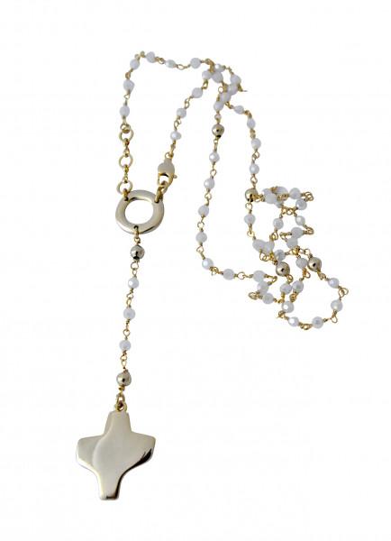 Rosenkranz - Weiße Swarovski-Perle & Goldfarbenes Kreuz