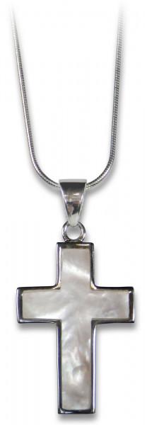 Silberkette - Schlichtes Perlmuttkreuz