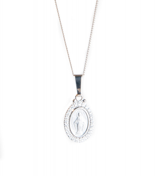 Silberkette - Wundertätige Medaille mit Swarovski ...