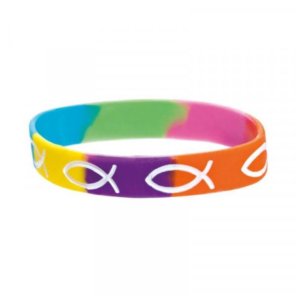 Silikonarmband - Ichthys & Regenbogen