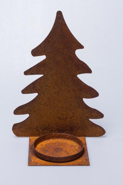 Tannenbaum-Windlicht - 25 cm & Edelrost
