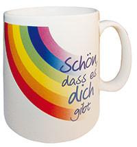 Tasse - Schön, dass es dich gibt & Regenbogen