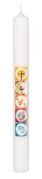 Taufkerze - Kreise & Christliche Symbole