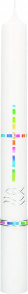 Taufkerze - Kreuz aus Regenbogen Kacheln