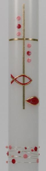 Taufkerze - Kreuz & Perlenrand