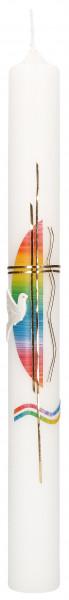 Taufkerze - Taube und Regenbogenfarben