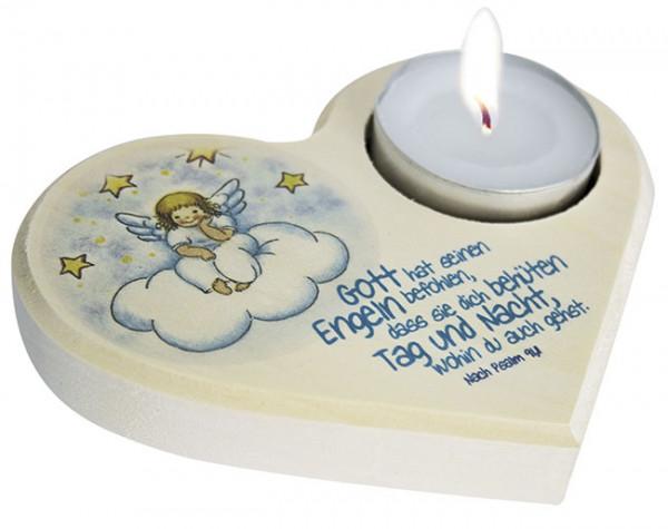 Teelichthalter Herz - Gott hat seinen Engeln befohlen...