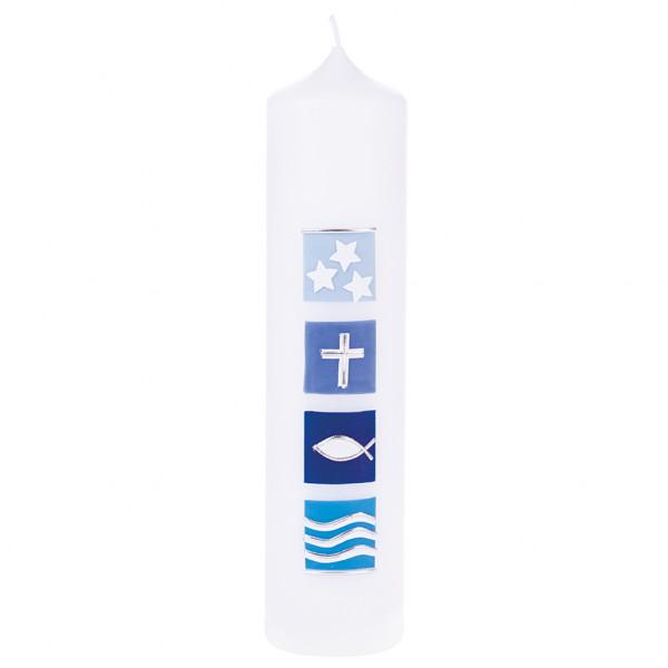 Tischkerze zur Taufe - Christliche Symbole