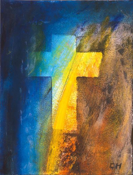 Trauerkarte - Aufscheinendes Kreuz