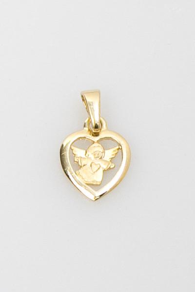 Vergoldeter Herz-Anhänger - Engel & Herz