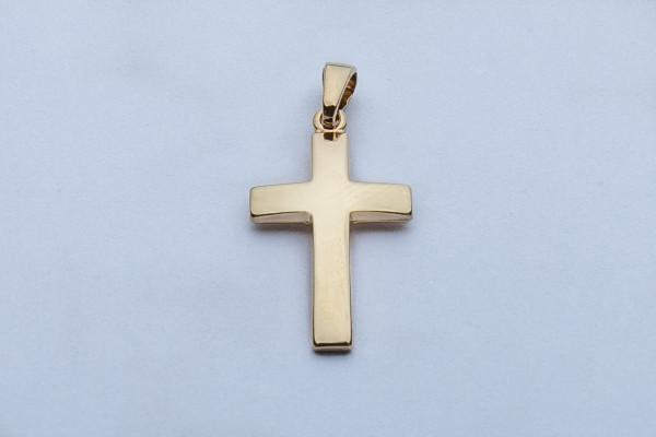 Vergoldeter Kreuz-Anhänger - Längliche Form & Klein