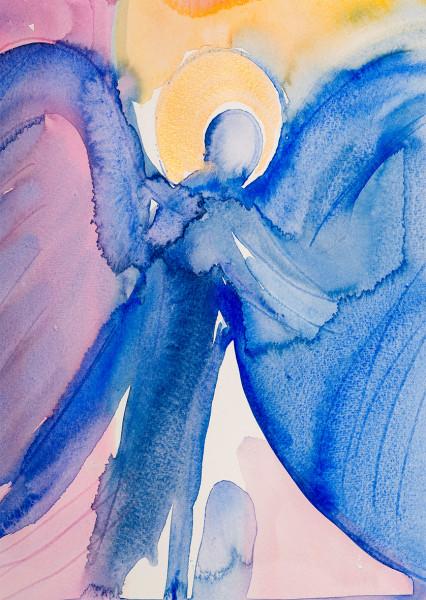 Weihnachtskarte - Engel & Blau