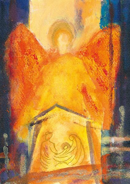 Weihnachtskarte - Engel über der Krippe