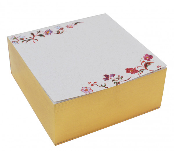 Zettelblock - Blumen & Goldschnitt